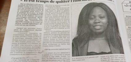 """""""Il est temps de quitter l'isolement et la honte"""" L'interview d'Armelle Abadagan notre représentante AFCRCC Afrique sur la situation des Comportements Répétitifs Centrés sur le Corps dans le journal Fraternité (Avril 2020)"""
